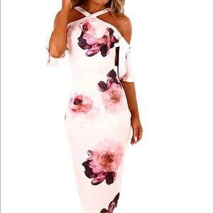 Dresses & Skirts - Bodycon Off shoulder pink dress short sleeve 2